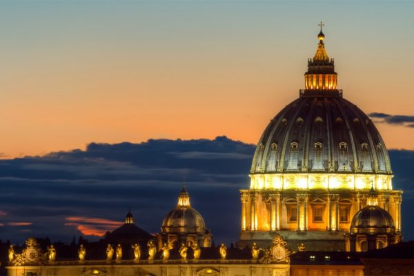 Dome of Saint Peter at twilight, Rome, Italy